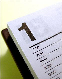 A desktop calendar.