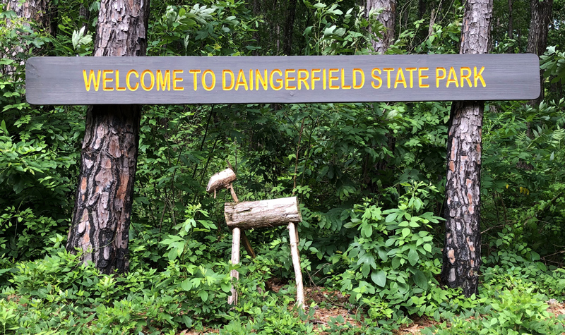 Welcome to Daingerfield State Park sign.