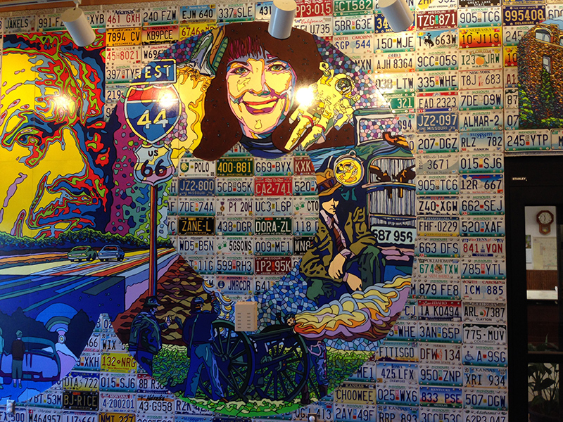 A mural inside the Route 66 Welcome Center.