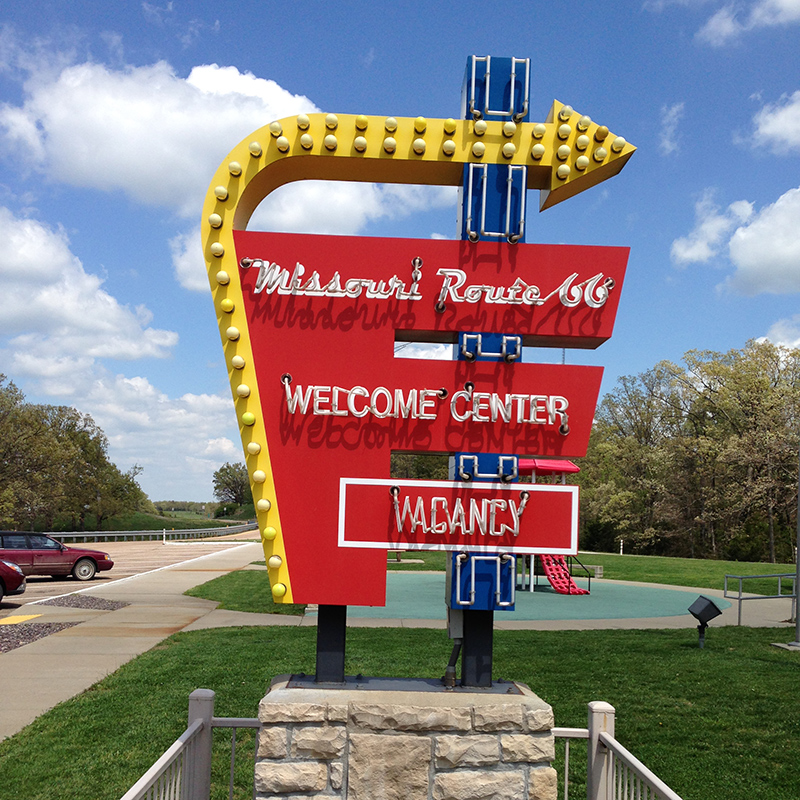A sign outside the Route 66 Welcome Center in Missouri.