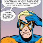 Animal Man rubbing his head