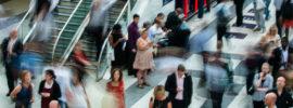 A blurred crowd
