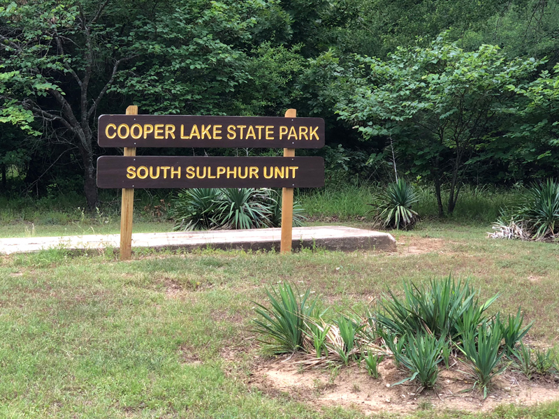 Cooper Lake State Park sign.