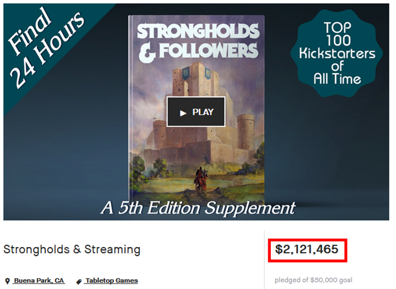 Screenshot of Matt Colville's Kickstarter at over $2.1 million.