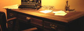 Desk and typewriter