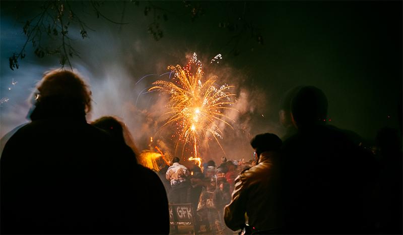 People watching fireworks