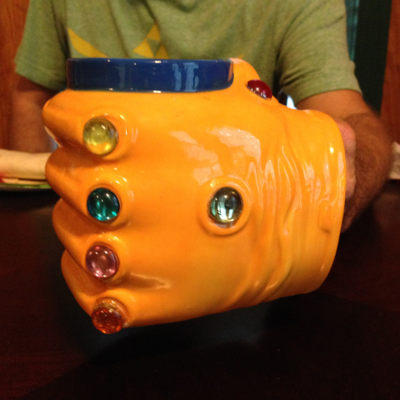 Infinity Gauntlet coffee mug.