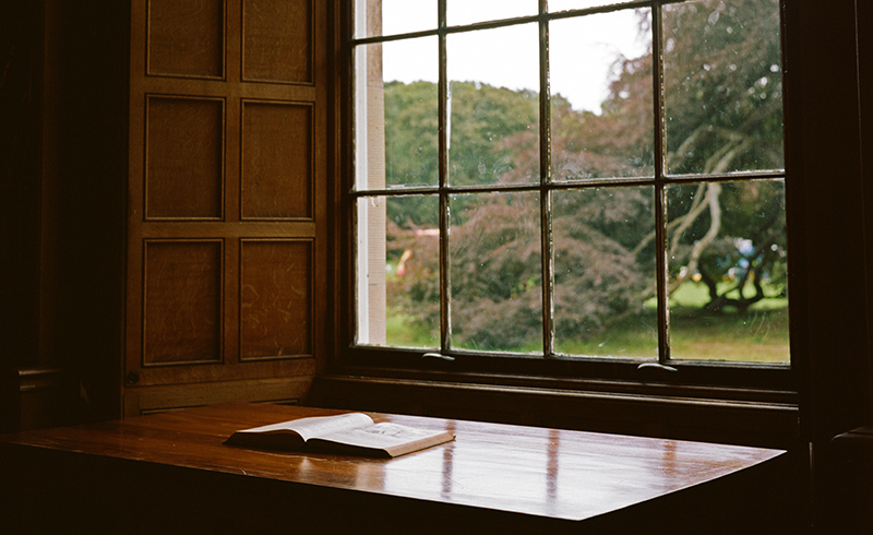 Book on a desk (with window)