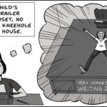 "Panel from Zen Pencils' ""The Desk"" (Stephen King imagining a giant writing desk.)"