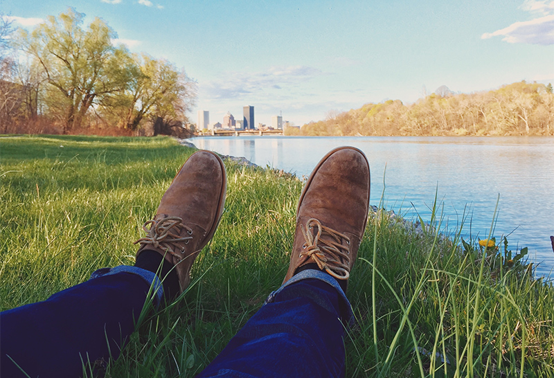 Relaxed point of view: lying in the grass by a pond, looking at one's feet...