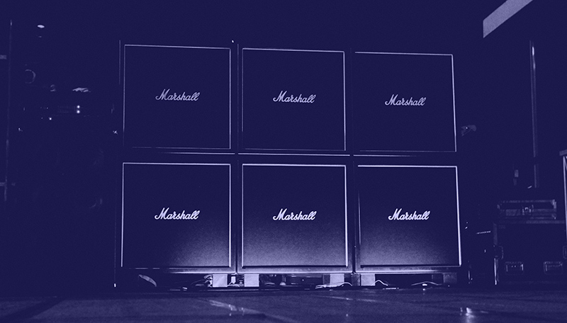 Stack of Marshall amplifiers.