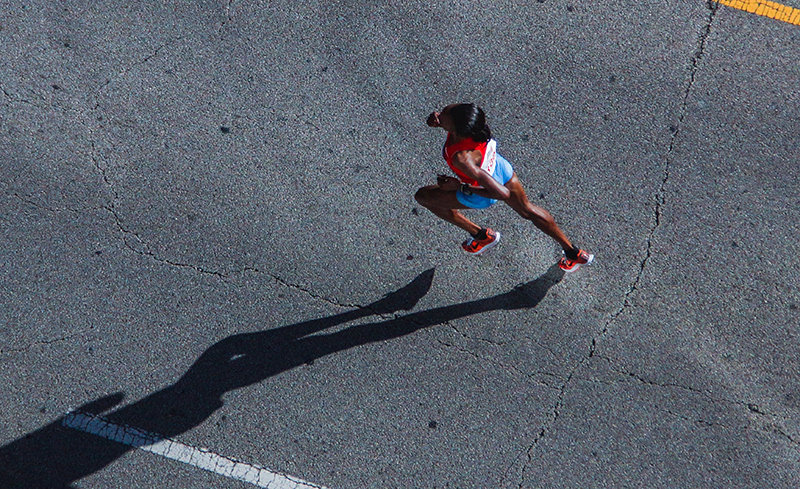 A woman running in a race