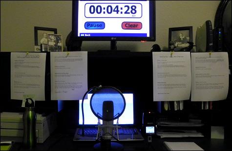 The desk where I write and podcast