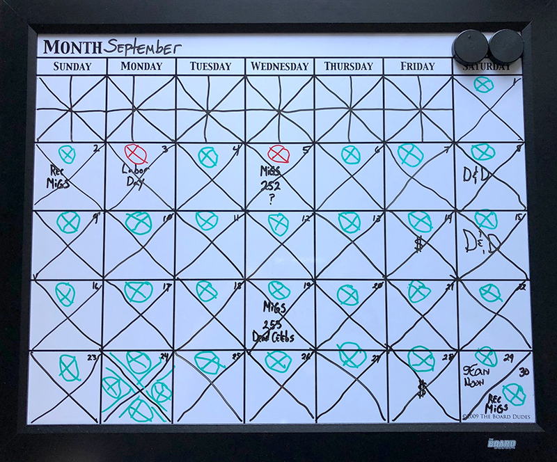 September's Progress Calendar.