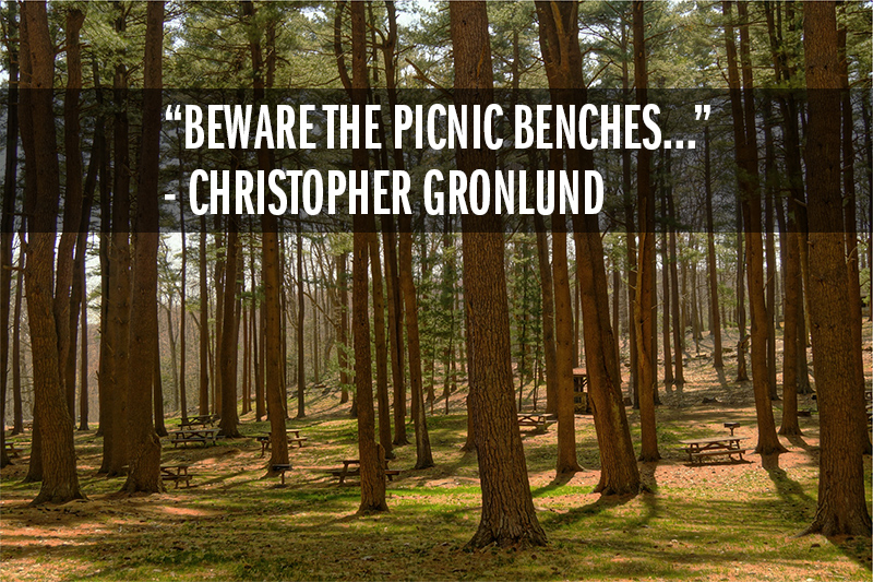 """Beware the picnic benches..."" - Christopher Gronlund"