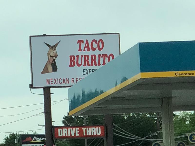 Taco Burrito Express sign.