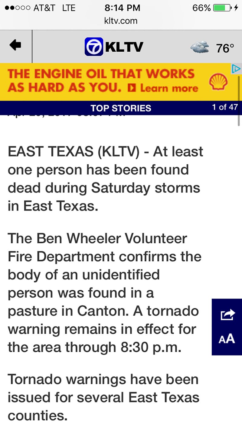Initial news reports about Canton, Texas' tornadoes.