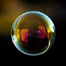 A floating soap bubble.