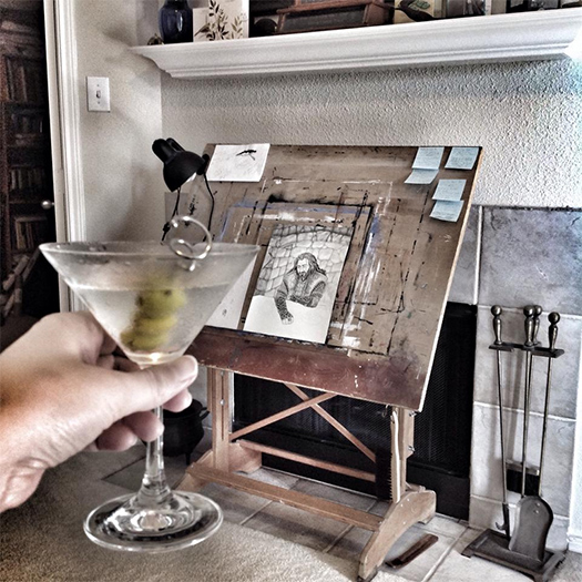 Cynthia Griffith's Art Table (with Martini)