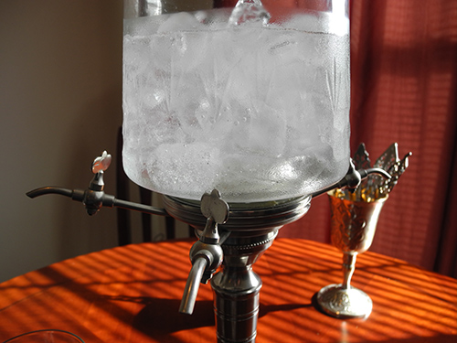 Ice water in the absinthe fountain